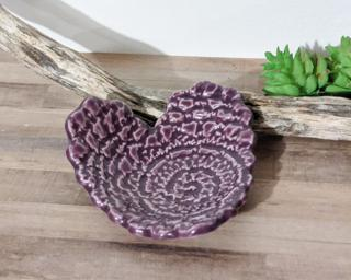 A sweet little textured heart dish for your dresser.