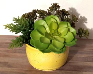 A bright yellow speckled planter to keep summer around just a little bit longer.