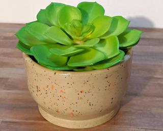 Adorn your home with this stunning little speckled planter.