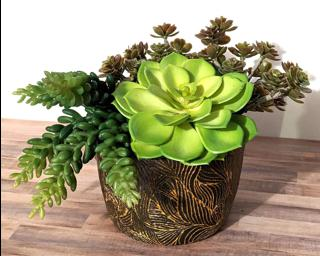 An intricately carved planter for your table.