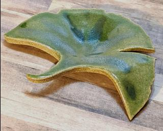 A sweet little ginkgo leaf dish for your dresser.